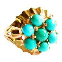 Vintage 1940s 14kt Gold Turquoise Cluster Ring
