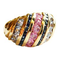 Vintage 9kt Gold Pink & Blue Sapphire Ring