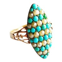 Victorian 18ct Gold Pavé Turquoise & Pearl Marquise Ring