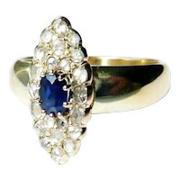 Antique 14kt Gold Blue Sapphire & Rose Diamond Marquise Ring