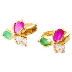 Vintage 9kt Gold Synthetic Ruby & Paste Huggie Earrings