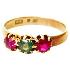 Antique 9ct Gold Synthetic Ruby & Green Paste Trilogy Ring