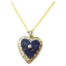 Antique Lapis & Diamond Heart Pendant