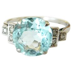 Edwardian 18ct White Gold Aquamarine & Diamond Ring