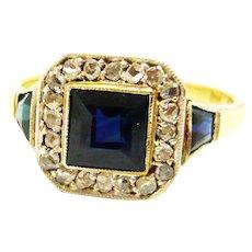 Edwardian Sapphire & Diamond Square Ring
