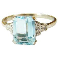 Art Deco 18kt White Gold Aquamarine & Diamond Ring