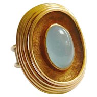 Vintage Heavy 18ct Gold Cabochon Aquamarine Ring