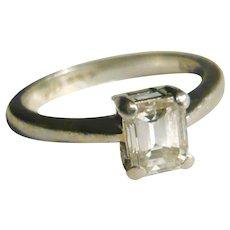 Platinum 0.5cts Emerald Cut Diamond Solitaire Ring