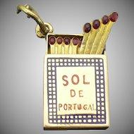 "Vintage 19  karat ""Sol de Portugal""  match box charm"