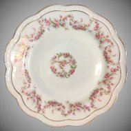 Zeh Scherzer Co plate with garlands of deep pink roses