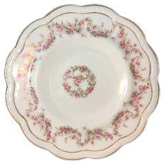 Zeh Scherzer Co plate with garlands of deep pink roses 8.5 inch