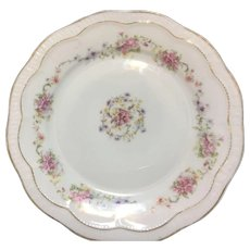 Zeh Scherzer Co plate with garlands of deep pink roses and blue, yellow flowers 8.25 inch
