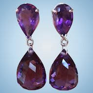Custom made Sterling silver and Amethyst dangle earrings