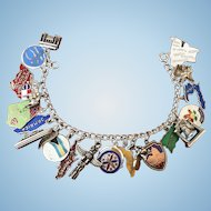 Vintage Sterling Silver Travel theme charm bracelet