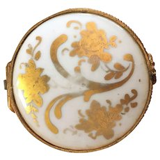 Limoges gold gilt and white porcelain round box