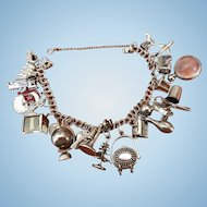 Vintage Sterling silver double link charm bracelet with charms and a safety chain