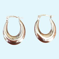 Vintage 14 Karat white gold hoop earrings