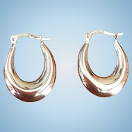 Vintage 14 KT white gold hoop earrings