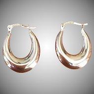 Vintage 14 KT white gold hoop earrings