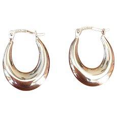 Vintage 14 Karat white gold hoop earrings
