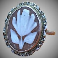 Vintage Cameo and marcasite sterling ring