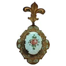 Vintage guilloche enamel locket with hand painted rose with original pin