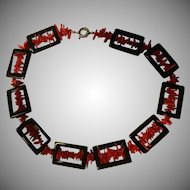 Vintage Art Deco black onyx and red branch coral necklace