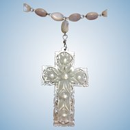 Vintage Mother of Pearl carved cross and necklace
