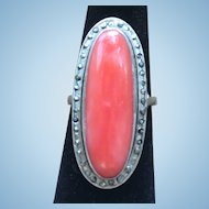 Vintage  pink salmon natural coral sterling silver and marcasite ring