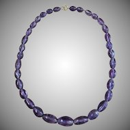 Vintage hand cut oval amethyst bead necklace