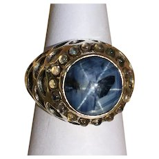 Unique Star sapphire and moonstone sterling silver ring