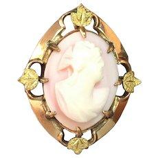Vintage 10 kt gold filled hand engraved pink cameo