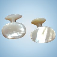 Vintage hand carved Mother of Pearl cuff links