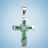 Vintage sterling silver Malachite inlaid cross on a sterling chain.