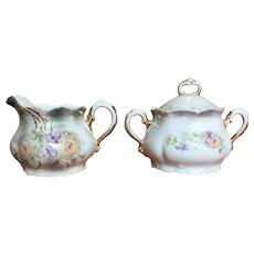 Vintage Leuchtenburg Germany porcelain creamer and sugar set