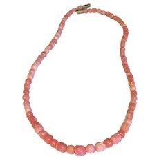 Vintage Pink natural coral necklace