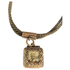 Victorian blonde hair watch fob with locket