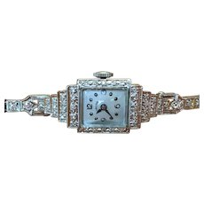 Vintage 14 KT white gold and diamond watch