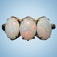 Victorian 10 KT rose gold 3 natural opal ring