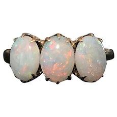 Victorian 10 KT rose gold 3 opal ring