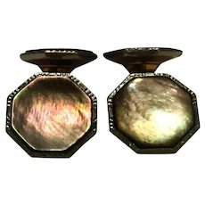 Vintage 14 Karat plate smoked mother of pearl cuff link set