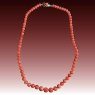 Vintage natural coral graduated necklace