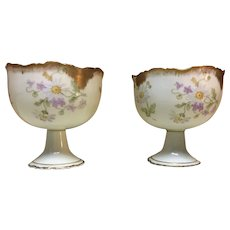 Antique hand painted Limoges porcelain grapefruit cups