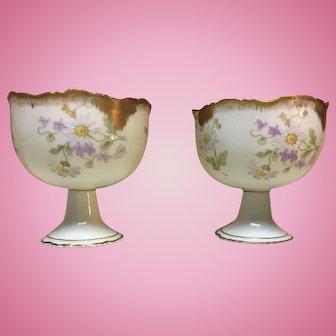 Antique hand painted Limoges porcelain grapefruit cups