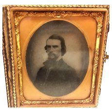 Antique Daguerreotype of a gentleman in a leather case
