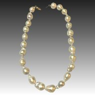 Baroque cultured South Sea pearl necklace 14 kt clasp