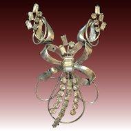 Vintage Sterling silver rhinestone Carl-Art Co. pendant earring set