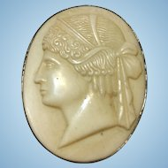 Vintage sterling silver and molded bakelite cameo