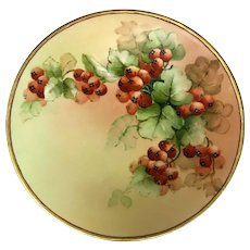 Antique J.P. Limoges hand painted Gooseberry Porcelain Plate with Gold Trim 9""