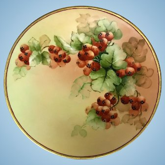 """Antique J.P. Limoges hand painted Gooseberry Porcelain Plate with Gold Trim 9"""""""